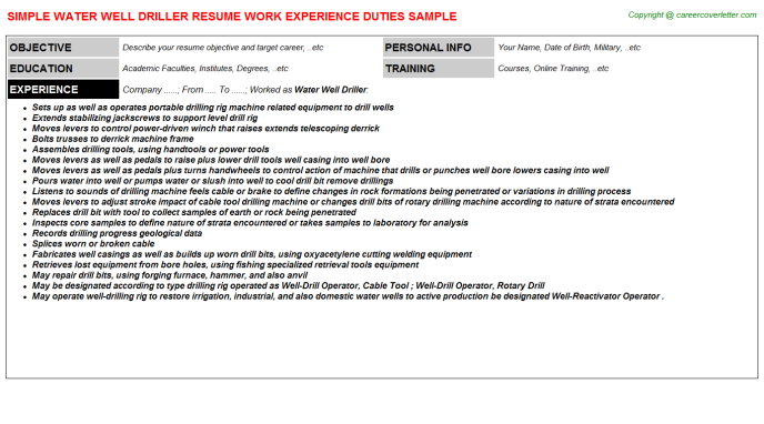 Water Well Driller Cv Resume Example