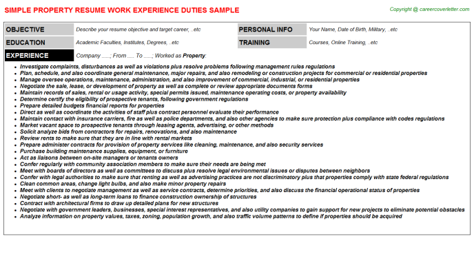 Property Resume Template
