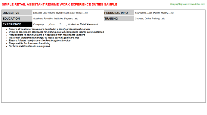 Retail Assistant Resume Sample Template