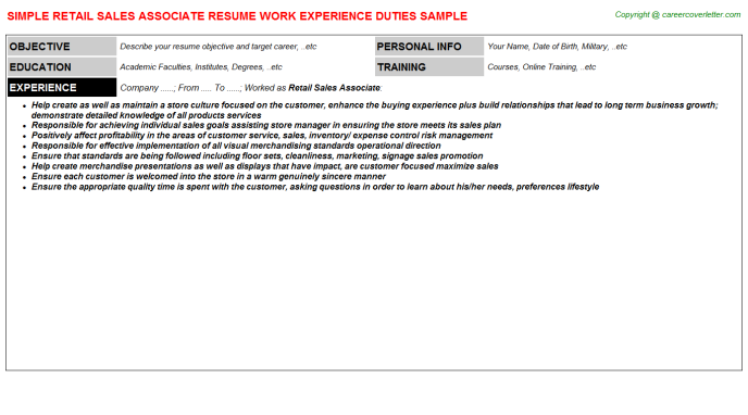 Retail Sales Associate Resume Sample