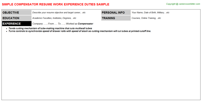 Compensator Job Resume Template