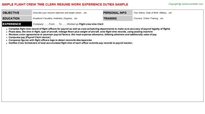 Flight Crew Time Clerk Resume Template
