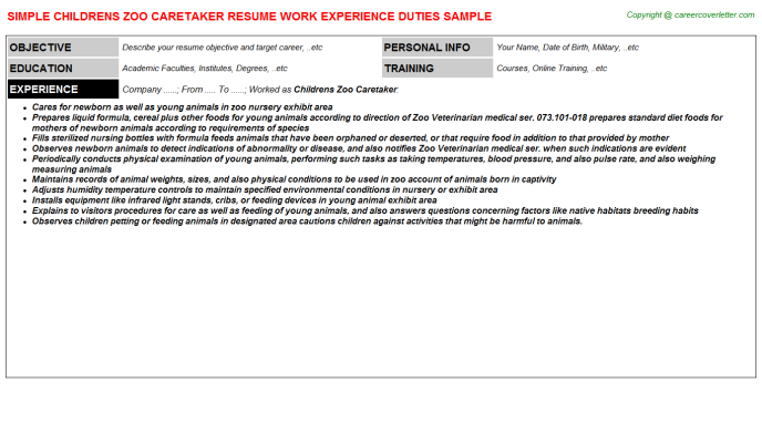 childrens zoo caretaker resume template