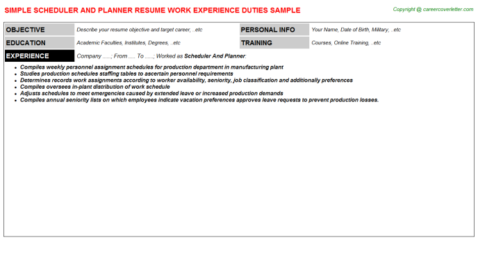 scheduler and planner resume template