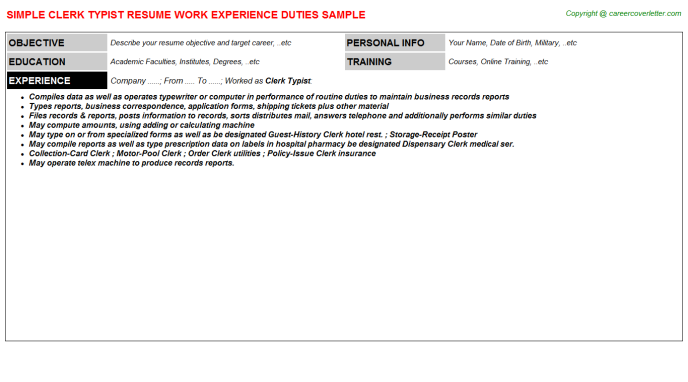 Clerk Typist Job Resume Template