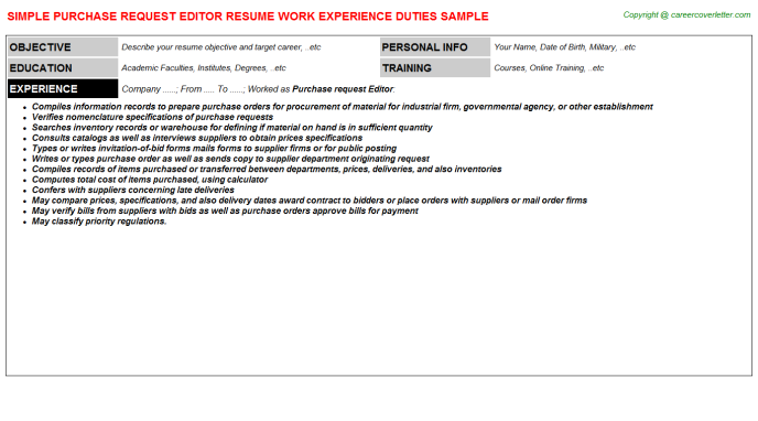 purchase request editor resume template