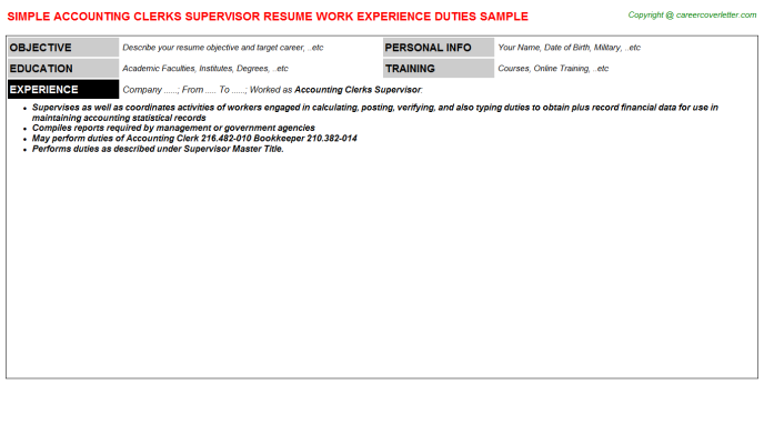 Accounting Clerks Supervisor Resume Template