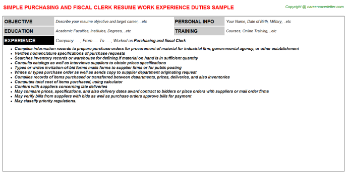 Purchasing And Fiscal Clerk Resume Template