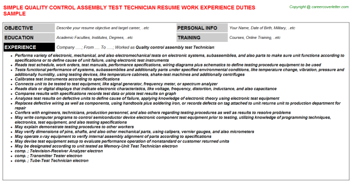 Quality Control Assembly Test Technician Resume Sample