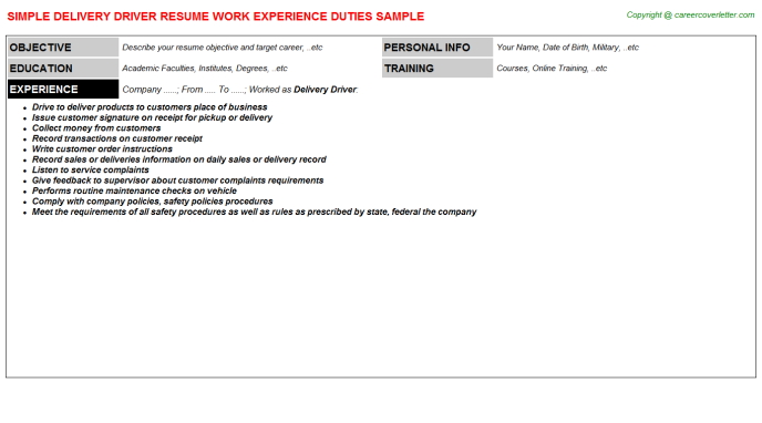 Delivery Driver Resume Template