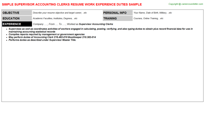 supervisor accounting clerks resume template