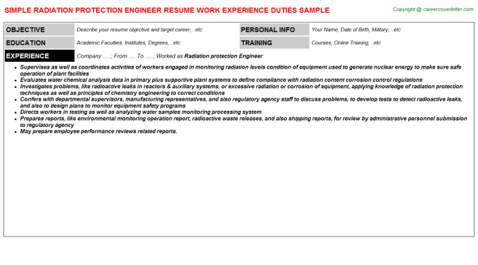Radiation Protection Engineer Resume Template