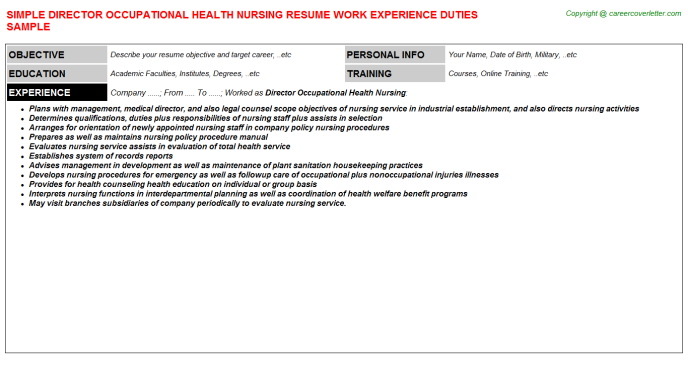 Director Occupational Health Nursing Resume Template