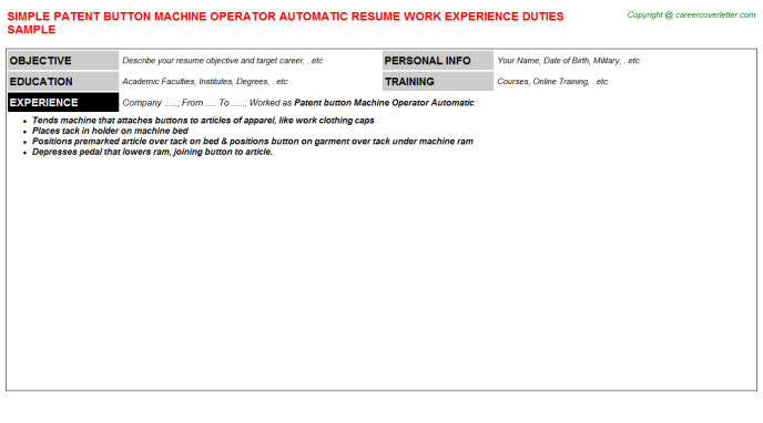 patent button machine operator automatic resume template