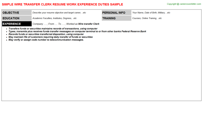 Wire Transfer Clerk Resume Template