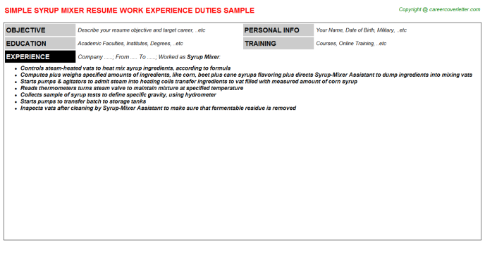 syrup mixer resume template
