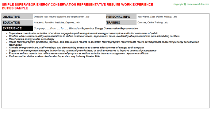 supervisor energy conservation representative resume