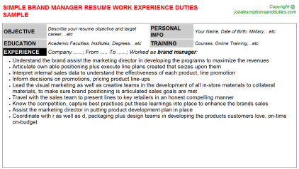 Brand Manager Job Resume Template
