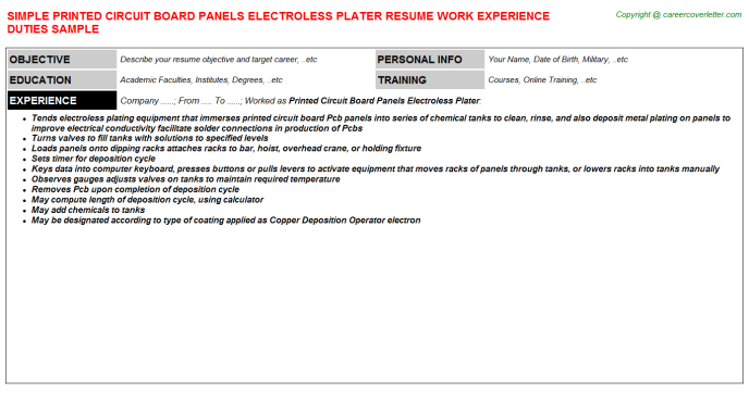 printed circuit board panels electroless plater resume template