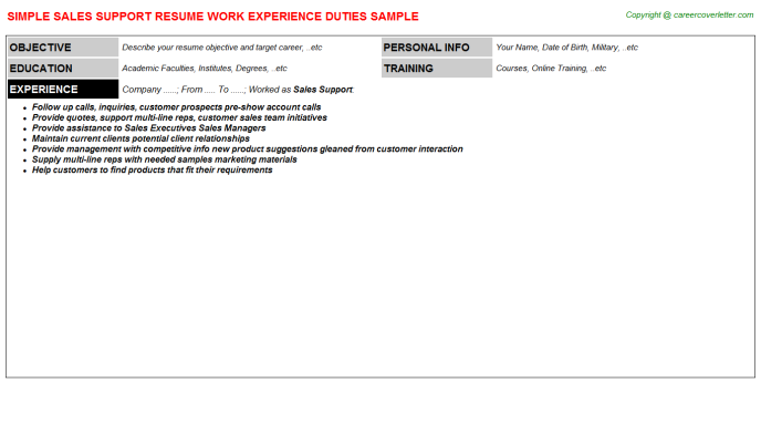 Sales Support Resume Sample Template