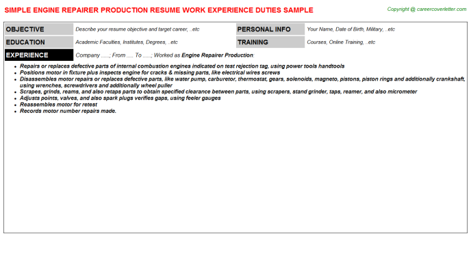 Engine Repairer Production Resume Template
