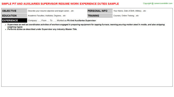 Pit And Auxiliaries Supervisor Resume Template