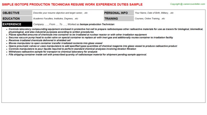 Isotope Production Technician Resume Template