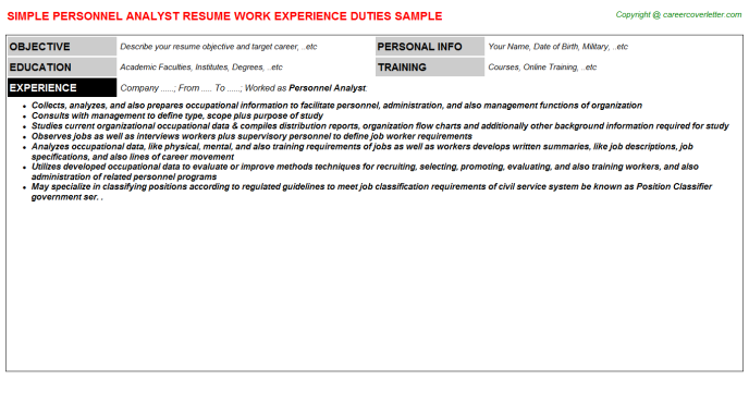 personnel analyst resume template