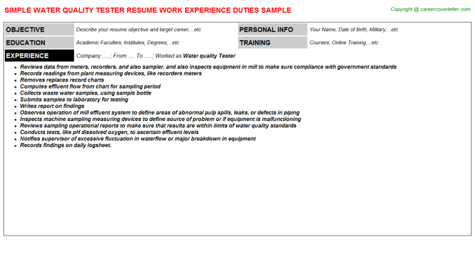water quality tester resume template