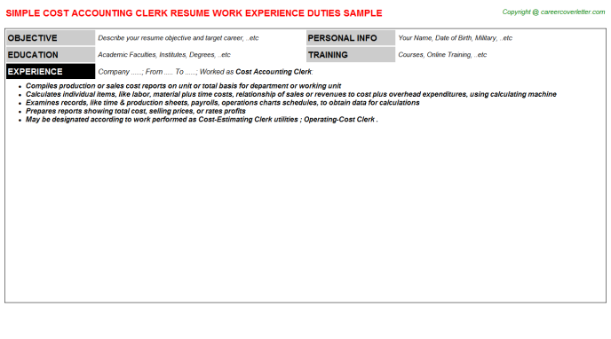 cost accounting clerk resume template