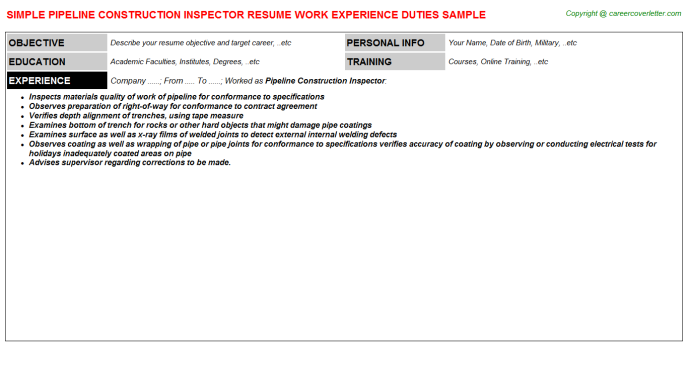 pipeline construction inspector resume sample
