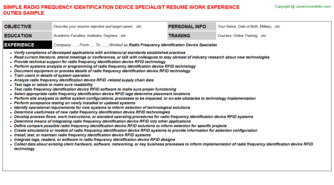 Radio Frequency Identification Device Specialist Job Resume Template