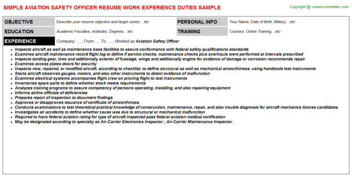Aviation Safety Officer Job Resumes Examples
