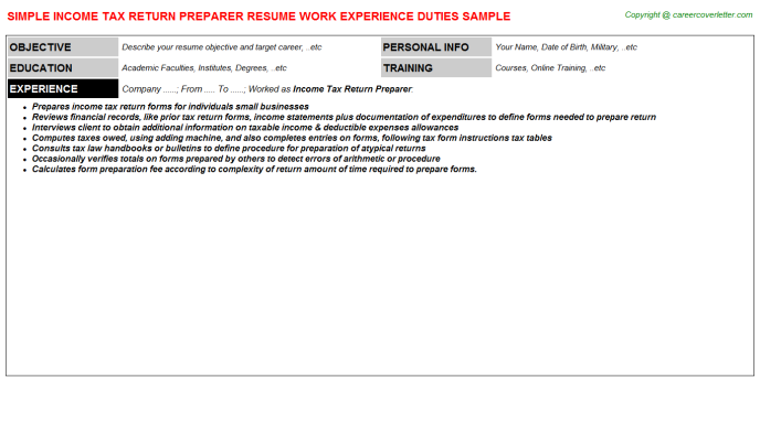 Income Tax Return Preparer Career Samples