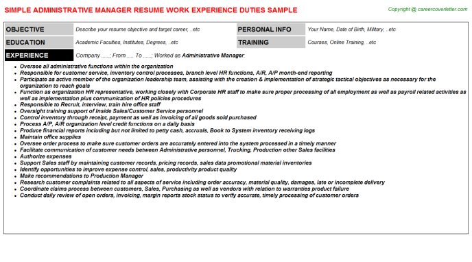 Administrative Manager Resume Sample Template