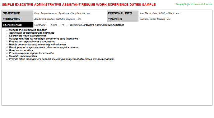 Executive Administrative Assistant Resume Sample Template