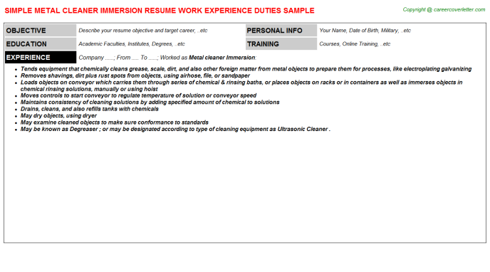 Metal cleaner Immersion Job Resume Template