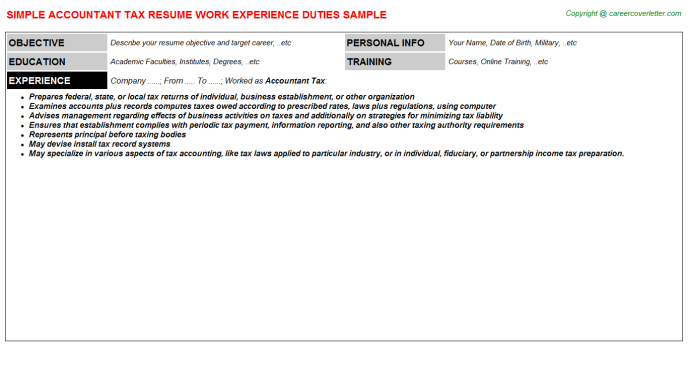 Accountant Tax Resume Template