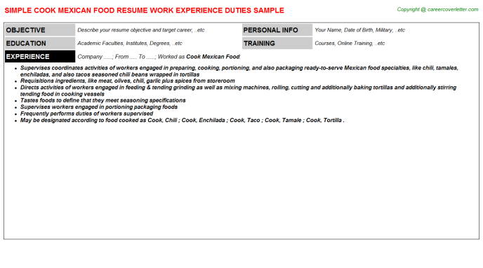 cook mexican food resume template