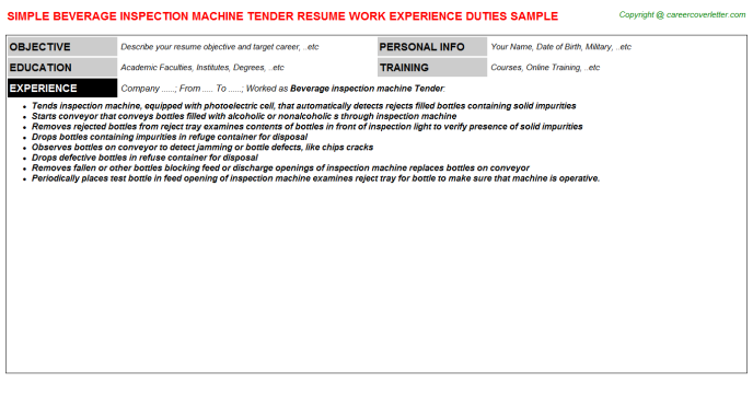 beverage inspection machine tender resume template