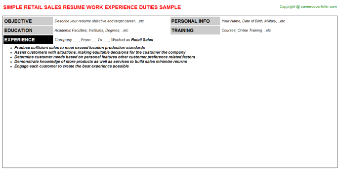 Retail Sales Resume Sample Template