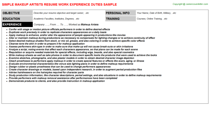 Makeup Artists Job Resumes Examples