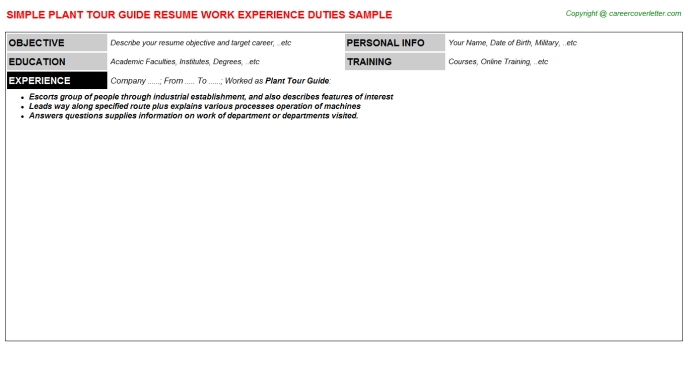 plant tour guide resume template