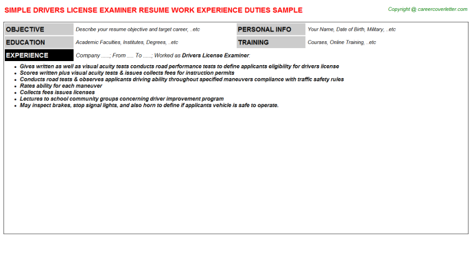 Drivers License Examiner Resume Template