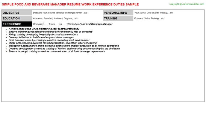 Food And Beverage Manager Resume Sample Template