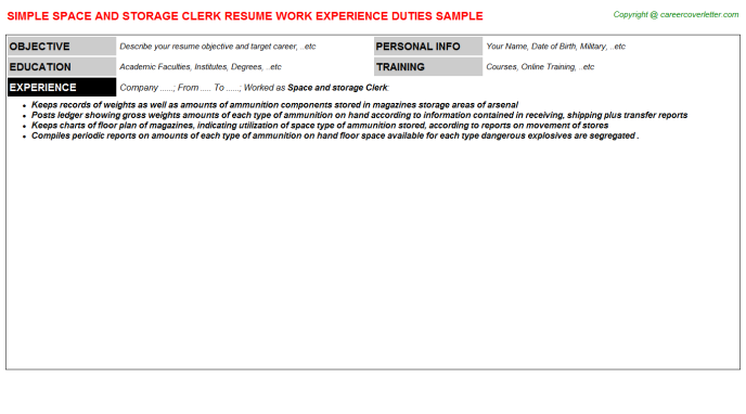 Space And Storage Clerk Resume Template