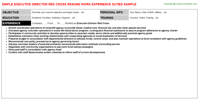 Executive Director Red Cross Resume Template