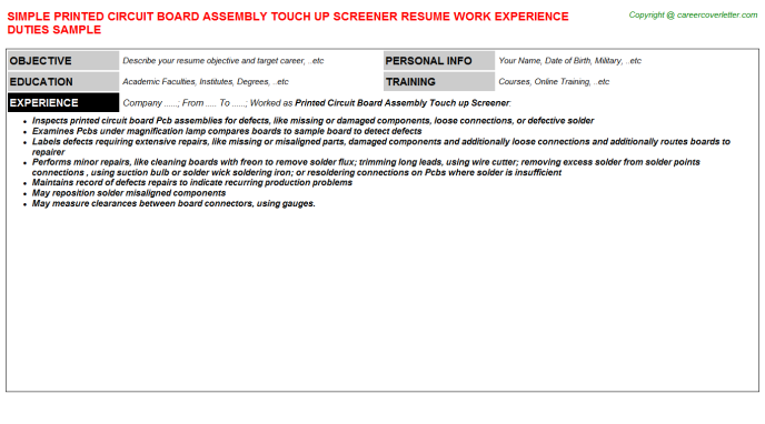Printed Circuit Board Assembly Touch up Screener Job Resume Template