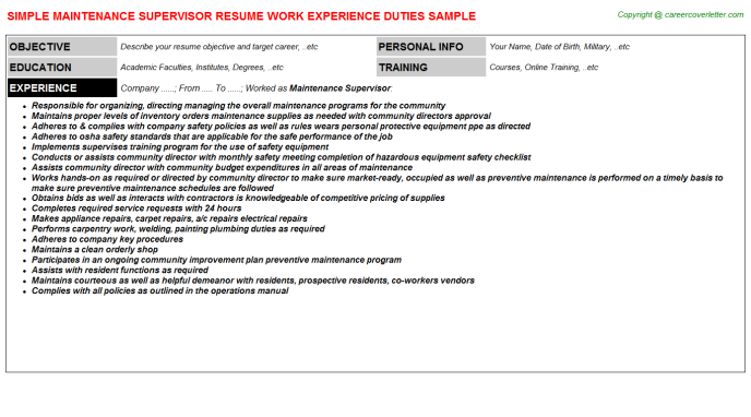 Maintenance Supervisor Resume Sample Template
