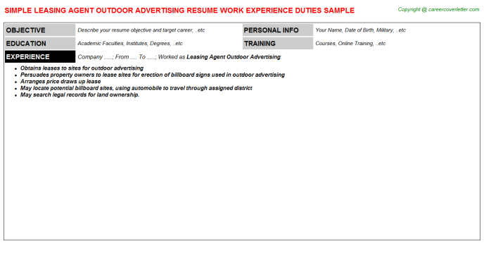 Leasing Agent Outdoor Advertising Resume Template